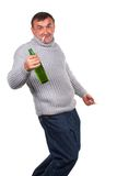 Drunk man with bottle of beer Royalty Free Stock Image