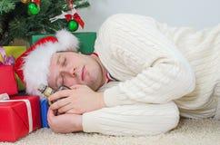 Drunk man with bottle sleeps Stock Photos