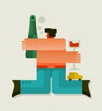 Drunk man with the bottle. Vector illustration Royalty Free Stock Image