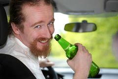 Drunk man in car stock images