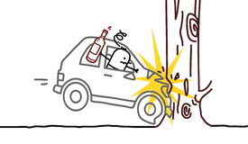 Drunk man & car crash. Hand drawn cartoon characters - drunk man & car crash Stock Photos