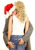 Drunk man in Christmas hat with  mannequin Royalty Free Stock Photo