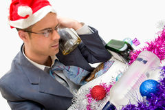Drunk man on christmas Stock Images