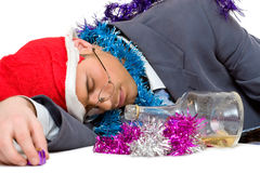Drunk man on christmas Royalty Free Stock Photos