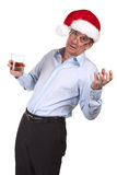 Drunk Man in Christmas Santa Hat Royalty Free Stock Image
