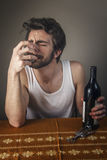 Drunk man crying Royalty Free Stock Images