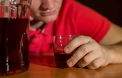 Drunk man drank a lot of alcohol Royalty Free Stock Images