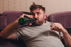 Drunk man drink alcohol. Stock Photo