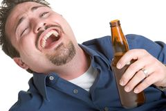 Drunk Man Drinking Beer Royalty Free Stock Photography
