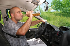 Drunk man in drivers stock photo