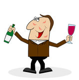 Drunk man with a glass and a bottle of wine Royalty Free Stock Photos