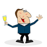 Drunk man with a glass of wine Stock Image