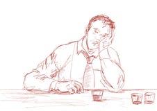 Drunk man. Graphic portrait. Pencil sketching. stock illustration