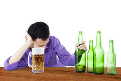 Drunk man holding beer 1 Royalty Free Stock Photo