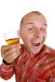 Drunk man holding a glass of whisky. Isolated on white Stock Photo