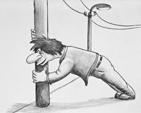 The drunk man holds the pole. Cartoon. Pencil drawing on paper Royalty Free Stock Image
