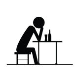 Drunk man icon vector silhouette on chair Royalty Free Stock Photos