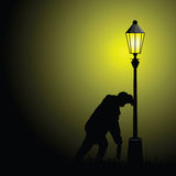 Drunk man illustration with street light Stock Photography