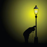 Drunk man illustration with street light silhouette Stock Photos