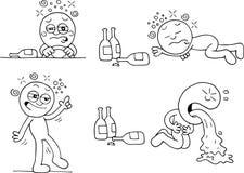 Drunk Man Set. Hand drawn cartoon of drunk man driving lying down walking and throwing up set of four Stock Image