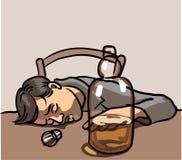 Drunk man sleeping Royalty Free Stock Photos