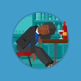 Drunk man sleeping in bar vector illustration. Royalty Free Stock Photography