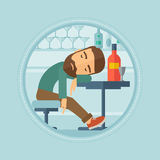 Drunk man sleeping in bar vector illustration. Stock Photo