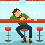 Drunk man vector illustration Royalty Free Stock Photo