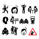 Drunk man and woman, people drinking alcohol icons set Royalty Free Stock Images