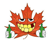 Drunk mapple leaf cartoon Stock Photo