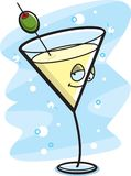 Drunk Martini. A martini with an olive getting drunk Stock Images
