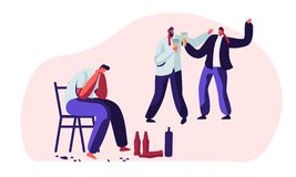 Drunk Men, Alcohol Addiction People. Male Characters Having Pernicious Habits Addictions and Substance Abuse, Suffering, Crying. Hugging in Funny Mood vector illustration