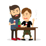 Drunk men at the table. Two drunk men at the table with bottle, drinking and smoking. Vector illustration Stock Images