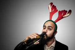 Drunk modern elegant santa claus babbo natale Stock Image
