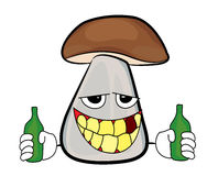 Drunk mushroom cartoon. Vector illustration of a smiling mushroom with bottles in his hand isolated on white background Stock Photo
