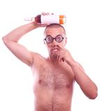 Drunk nerd in eyeglasses picking his nose Stock Images