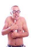 Drunk nerd guy in eyeglasses Royalty Free Stock Photo