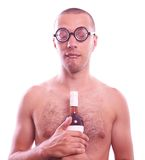 Drunk nerd guy in eyeglasses Stock Photography