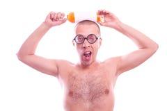 Drunk nerd guy in eyeglasses Royalty Free Stock Image