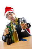 Drunk office worker after christmas Stock Photo