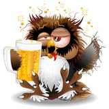 Drunk Owl with Beer Funny Character. Fun Drunk Owl Cartoon sitting on the Floor, holding a big Mug with Beer, and looking like singing some very off-key song! Royalty Free Stock Photography