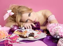 Drunk party princess barbie pink fashion woman Stock Photos