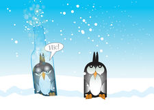 Drunk Penguin. A Hand drawn Illustration of a stylized penguin drunk and trapped inside a glass bottle, with fizzy bubbles emerging from the top of the bottle Royalty Free Stock Images