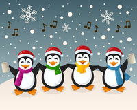 Drunk Penguins Singing on the Snow. A cartoon Christmas scene with four funny drunk penguin characters singing carols, in a snowy scene. Eps file available Royalty Free Stock Photography