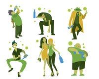 Drunk people, men and women stock illustration