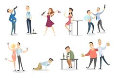 Drunk people set. Dancing and fighting, sleeping and having fun Royalty Free Stock Images