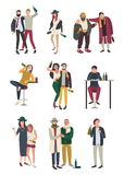Drunk people in various situation. Flat characters set. woman and man, girl and boy on white background. vector illustration