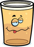 Drunk Pint of Beer. A cartoon pint of beer drunk and smiling Stock Images