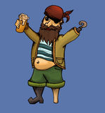 Drunk pirate vector illustration Royalty Free Stock Photos