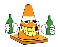 Drunk Road cone cartoon Stock Photos